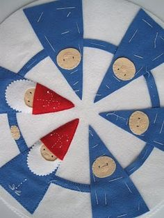"Felt penny ""rugs"" can be used to sit children in a circle for story time."