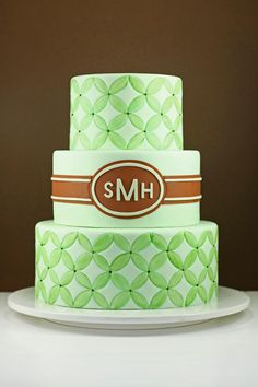 Pretty Green Patterned Mongram Cake Picture