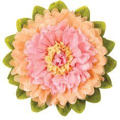 Medium Tissue Paper Flower (10-Inch, Pink & Cantaloupe Orange)