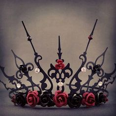 Rose Ultima -  Black and Red Crown Rose Crown Tiara Gothic Queen Steampunk Once…