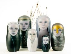 Russian+designer+art+dolls | ... Russian Matryoshka carved by Vasily Zvyozdochkin from a design by a
