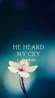 Psalm 40:1 (NKJV) - I waited patiently for the Lord; And He inclined to me, And heard my cry.