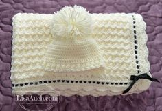 Create a Beautiful vintage with a modern twist Crochet Blanket and Hat. This easy crochet stitch combination is one of my favourites and makes for a beautiful modern baby blanket, using todays gorgeou