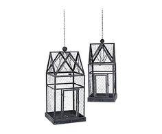 Set de 2 casitas decorativas para colgar en metal - negro