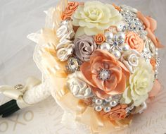 Heirloom Vintage Style Bridal Brooch Bouquet with Satin and Clay Flowers, lace, Brooches, and Jewels