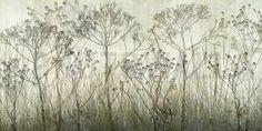 Wildflowers Lining the Trail - Kaki - Wall Mural