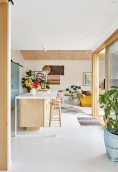 Interior stylist Emma O'Meara's colourful home with bold ideas Plywood kitchen with white kitchen island and pops of pastel colour. White Kitchen Island, Open Plan Kitchen, Updated Kitchen, Küchen Design, Home Design, Creative Design, Design Ideas, Living Room Kitchen, Kitchen Decor