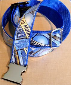 Belt with Recycled Blue Moon Beer Labels by squigglechick on Etsy