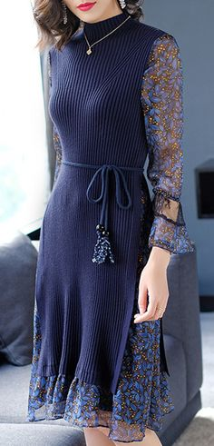 Fashion Stitching High Collar Flare Sleeve Skater Dress