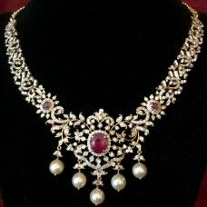 Diamond Necklace with Ruby and Emerald