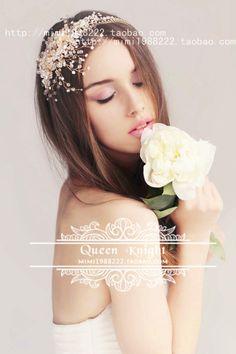 Эксклюзивный заказ Люкс для невесты аксессуары свадебный головной убор волосы позолочены цветы в Европе и Америке изысканной роскоши алмазов обруч - Taobao