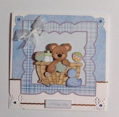 baby boy bear in a basket card front on Craftsuprint designed by Angela Wake - made by Jayne Jones -
