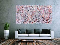 Buntes Acrylbild abstrakt hell schlicht 100x200cm von xxl-art.de