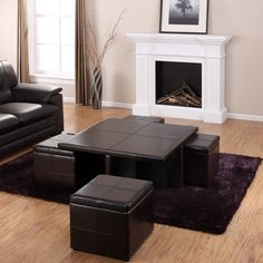 Drawing of Get a Compact and Multi-functional Living Room Space by Decorating a Coffee Table with Ottoman Seating