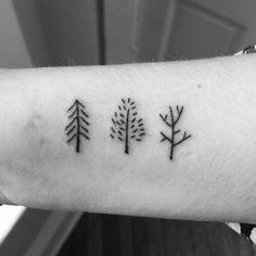 Simple small tree line tattoo designs