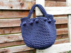 Crochet large summer bag Knitted pouch Rope crochet bag