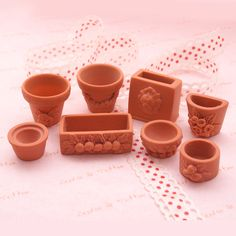 8pcs Miniature Pot & Vase Flower Clay Crafting