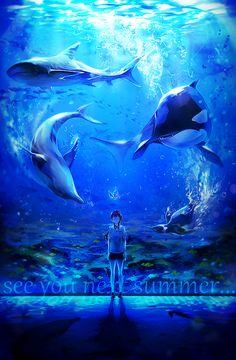 SPLASH FREE im surprised that the shark and orca hasnt eaten the penguin but thats the effect of Nagisa i guess. Anime Guys, Manga Anime, Anime Art, Free Eternal Summer, Splash Free, Free Iwatobi Swim Club, Another Anime, Animation, Noragami