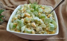 Sałatka z selerem naciowym - WSZYSTKO SMACZNE Cooking Time, Cooking Recipes, Healthy Recipes, Coleslaw, Kraut, Salad Recipes, Potato Salad, Good Food, Appetizers