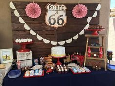 Vintage route 66 baby shower party ideas in 2019 Vintage Car Party, Baby Shower Vintage, Baby Shower Fun, Vintage Birthday, Shower Party, Baby Shower Parties, Baby Shower Themes, Baby Shower Decorations, Shower Ideas