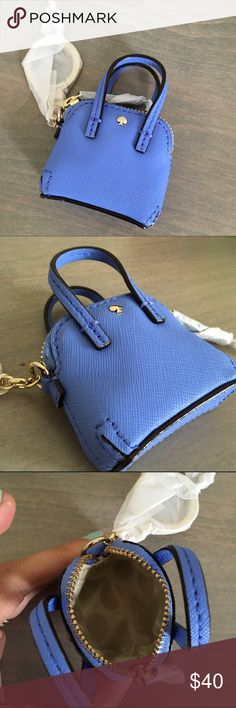 """🚨Price Firm Kate Spade Indigo Purse Keychain A miniaturized Saffiano-leather handbag suspended from a goldtone chain channels plenty of quirky cosmopolitan charm. 2 3/4"""" x 3 1/2"""". Top zip closure. Signature jacquard lining. Leather/metal. kate spade Accessories Key & Card Holders"""