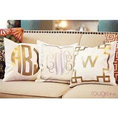Metallic Monogram Pillows - *For Greek Circle font, you can only use it with a circle. In the personalization field, enter names like Alpha, Gamma, etc and we'll use the Greek Letter for that name.