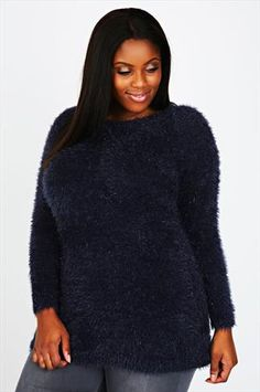 Midnight Blue Eyelash Crew Neck Jumper With Tinsel Detail Midnight Blue 40b3e0dc603