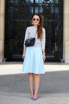 Breton striped top + pleated skirt + ladylike purple pumps
