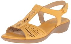 Naturalizer Women's Network Flat Sandal, Yellow, 5 M US T Strap Sandals, Flat Sandals, Women's Shoes Sandals, Leather Sandals, Dress Shoes, Heels, Valentino, Womens Flats, Casual Shoes
