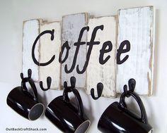 Coffee Mug Holder;  Coffee Mug Rack; Kitchen Decor; Kitchen Organization; Rustic Decor; Coffee Cup Rack; Mug Rack; Custom orders welcome! by OutBackCraftShack on Etsy https://www.etsy.com/listing/238855870/coffee-mug-holder-coffee-mug-rack