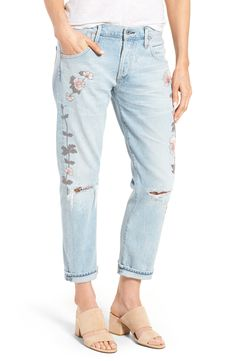 online shopping for Citizens Humanity Emerson Slim Boyfriend Jeans (Distressed Rock Roses) from top store. See new offer for Citizens Humanity Emerson Slim Boyfriend Jeans (Distressed Rock Roses) Boyfriend Jeans, Mom Jeans, Spring Hats, Faded Jeans, Ripped Jeans, Denim Jeans, White Jeans, Ripped Knees, Citizens Of Humanity Jeans