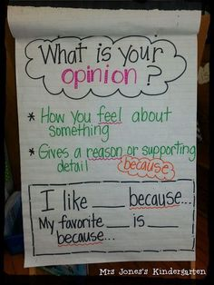 Jones's Kindergarten: Opinion Writing Ideas + Other Wintery Stuff Anchor Charts First Grade, Kindergarten Anchor Charts, Writing Anchor Charts, In Kindergarten, Kindergarten Writing Activities, 2nd Grade Activities, Preschool, Work Activities, Writing Lessons