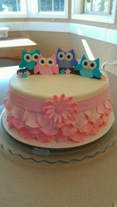 Owl cake w/ pink fondant ruffles/petals.