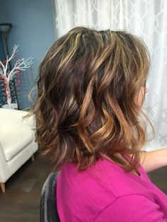 Mixture of foils and Balayage highlights with Olaplex: styled with ...