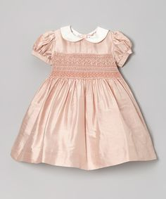 Take a look at this Pink Silk Smocked Dress - Toddler & Girls on zulily today!
