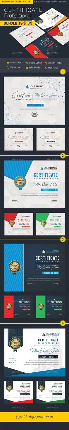 Buy Certificate Bundle by DUrgaDesigns on GraphicRiver. 4 Certificate Template Fully Clean Certificate Paper Size With BleedsQuick and easy to customize templatesAny Size. Stationery Printing, Stationery Templates, Stationery Design, Print Templates, Certificate Design, Certificate Templates, A4 Paper, Paper Size, Print Design