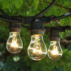 "Commercial Medium String Lights & A15 Clear Bulbs -- get ""medium"" base sockets and matching bulbs"