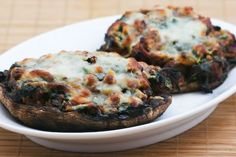 Recipe for Grilled Portobello Mushrooms Stuffed with Sausage, Spinach, and Cheese from Kalyn's Kitchen  [#Low-Glycemic #SouthBeachDiet friendly #Recipe]