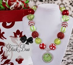 Hey, I found this really awesome Etsy listing at https://www.etsy.com/listing/210587170/grinch-christmas-necklace-rhinestone