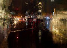 """Jeremy Mann, """"Evening Storm on Market St."""" (Oil on Panel, 2014)"""