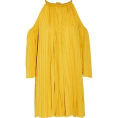 Rachel ZoeNancy Cutout Plissé Silk-blend Jersey Mini Dress ($207) ❤ liked on Polyvore featuring dresses, mustard, short yellow dress, tassel dress, bohemian dresses, mustard dress and boho chic dresses