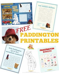 A fantastic round up of Paddington Bear crafts, activities and free printables for kids of all ages. paddington bear lesson plans, food, activities and crafts for kids and adults Paddington Bear Books, Ours Paddington, Paddington Bear Party, Bear Birthday, 7th Birthday, Bear Crafts, Bear Theme, Thinking Day, Craft Activities