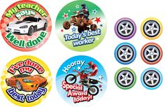 Boys will love these reward stickers! Hooray… special award today, I've done my best today, My teacher says well done, Today's best worker      Size: 36mm - 120 stickers     Size: 15mm - 60 stickers     8 mixed designs     180 stickers per pack     Ref: CH11  Price     £3.95 FREE UK DELIVERY     (£3.29 ex VAT)