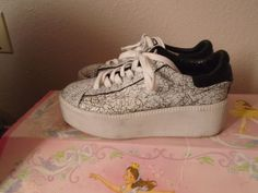 Limited A by ASH White Black Crackled Leather Platform Sneaker Shoes sz 7 US #Ash #Comfort
