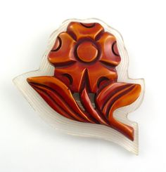 """For sale here is a truly rare and wonderful carved resin wash Bakelite and reverse-carved Lucite Flower design brooch pin. So unusual and very attractive! Measures just under 3"""" by 2-3/8"""" by 1/2"""" at thickest point. 