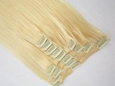 Sina Beauty 18 inch 9pcs/Set Attached Clips in Real Hair Extensions Straight -613 light golden blonde 100g in Women's Beauty Hairsalon in Fashion * Read more reviews of the product by visiting the link on the image.