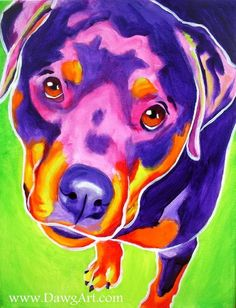 Colorful Pet Portrait Rottweiler Dog Art Print by dawgpainter