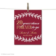 20th Anniversary Gift For Husband Or Wife Wedding 20 Year Personalized Custom Art Print