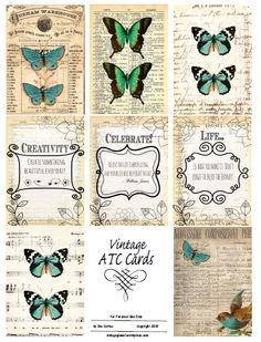 Free Printable - Vintage ATC Cards and other free printables. Vintage Labels, Vintage Ephemera, Vintage Cards, Vintage Paper, Vintage Images, Vintage Designs, Atc Cards, Journal Cards, Junk Journal