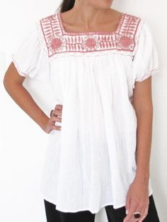 Aguacatenango Blouse | Pink on White | Short Sleeves | Chiapas Bazaar | Handmade Mexican Blouses, Accessories & Home Decor from Rural Artisans